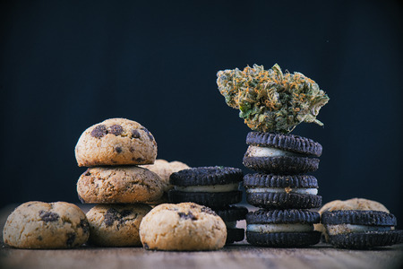 Detail of single cannabis nug over infused chocolate chips cookies - medical marijuana edibles concept