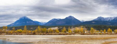 Panoramic view of the Canadian Rockies and Kicking Horse river from the town of Golden in British Columbia, Canada
