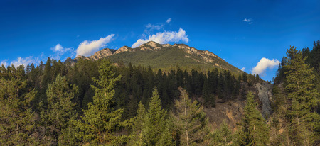 Panoramic view of the Rocky Mountains from Kootenay National Park in the village of Radium in British Columbia, Canada