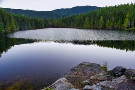 Scenic view of Heart Lake after sunset taken in Ladysmith, Vancouver Island, British Columbia, Canada