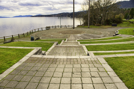 View of Transfer beach community park and amphitheater in the town of Ladysmith, Vancouver Island, BC, Canada.