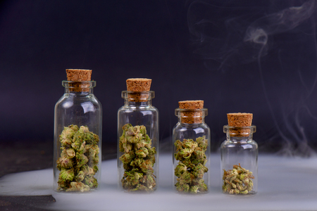 Detail of assorted jars with cannabis calyxes (sour tangie strain) isolated on black background - Medical marijuana dispensary concept