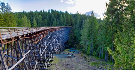 Panoramic view of Kinsol Trestle wooden railroad bridge in Vancouver Island, BC Canada. Фото со стока