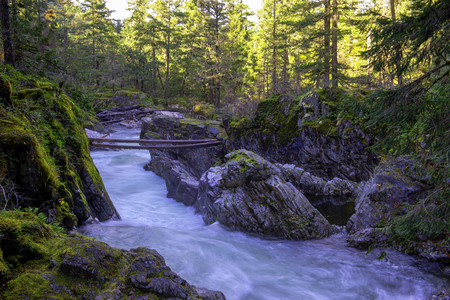 Long exposure view of water flowing on Little Qualicum Falls in Vancouver Island, Canada