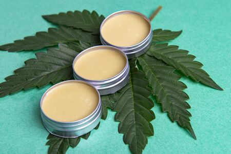 Cannabis salve with hemp and CBD oil and marijuana leaves on green background