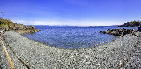 Panoramic view of Pipers Lagoon, a popular destination with beaches and trails on Vancouver Island, BC