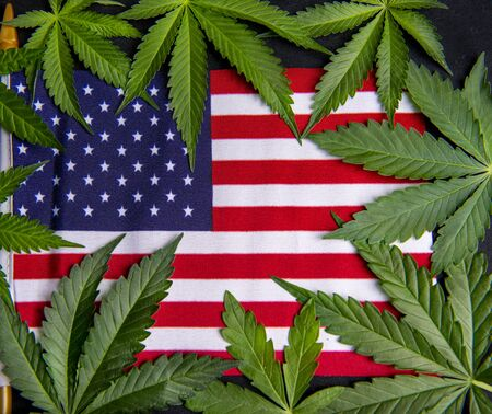 Cannabis leaves framing the american flag with copyspace - veteran theme medical marijuana concept