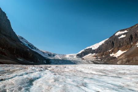 Athabascagletsjer bij Nationaal park Jasper Stockfoto