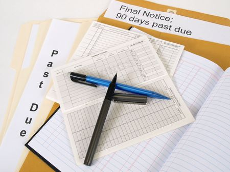 Past due notices and final notices, the debt never ends. Over white. Stock Photo