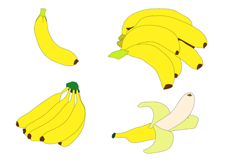 Illustration of various groupings of bright yellow bananas over white.