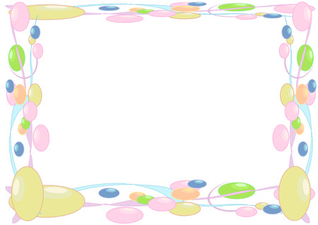 Vector Illustration of soft colored beads and streamers framing a page.