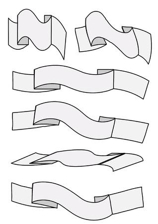 Illustration of six blank waving banner designs in vector format. Stock Vector - 3147814