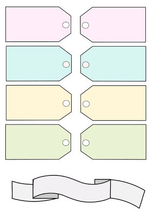 product display: Vector Illustration of blank pastel colored tags, and a blank white banner.