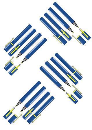 Vector illustratie van een groep van blauwe pennen met gouden clips en caps in verschillende weergaven en hoeken.