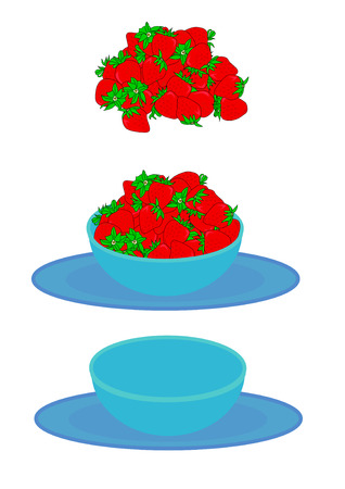 Vector illustration of a large serving of red ripe strawberries with green tops, a blue bowl and plate set, and a combination of both.