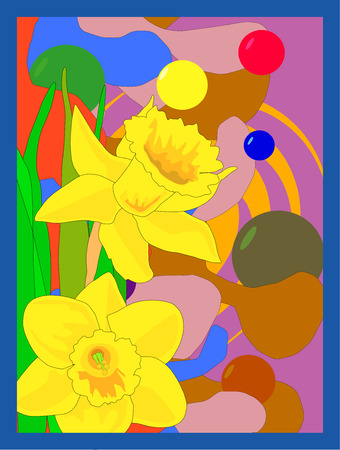 Hand drawn illustration of two narcissus daffodils over a bold colored retro style background.