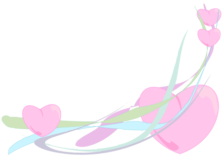 Vector Illustration of fluffy pink hearts floating down colorful waving ribbons.
