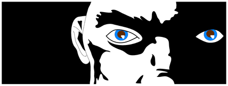 A face in partial darkness, blue eyes glinting from the shadows. Vector illustration. Ilustração