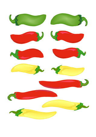 Green, red and yellow hot peppers in vector illustration AI8. Vector