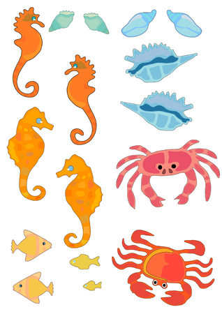 Vector Illustration de la mer et des coquillages dans des couleurs vives. Banque d'images - 3151345