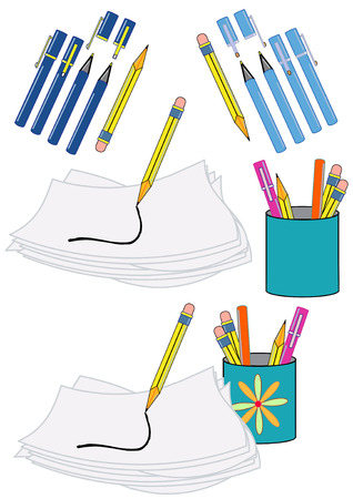 Vector Illustration of writing instruments, paper, and a scribble.
