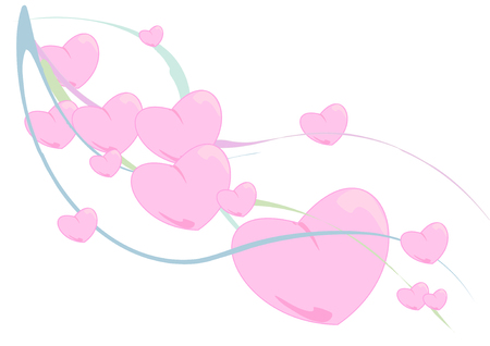 freefall: Vector Illustration of fluffy pink hearts floating down colorful waving ribbons.
