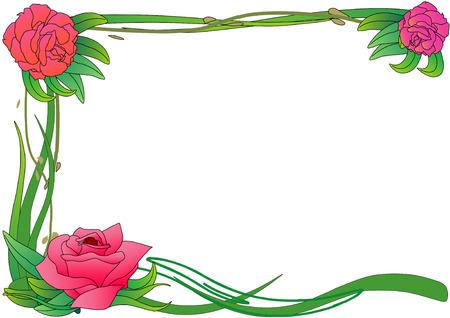 Vector Illustration of pink roses on green vines framing a page. Illustration