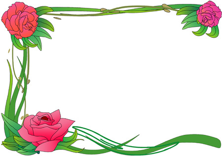 Vector Illustration of pink roses on green vines framing a page. Ilustração