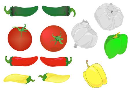 Illustratie van rode tomaten, knoflook en warm en paprika.