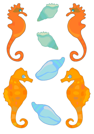 Vector Illustration of sea horses and conch shells in bright colors. Vector