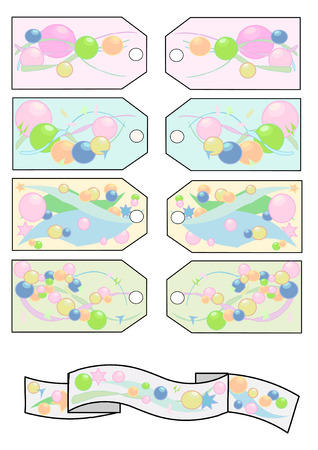 heading the ball: Festive gift tags in pastel colors with beads and stars, and a colorful matching banner. Illustration