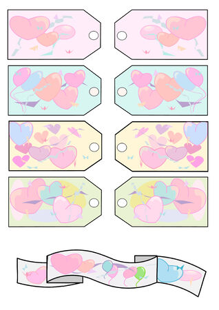 Festive gift tags in pastel colors with hearts and balloons, and a colorful matching banner. Vector Illustration Stock Vector - 3169071