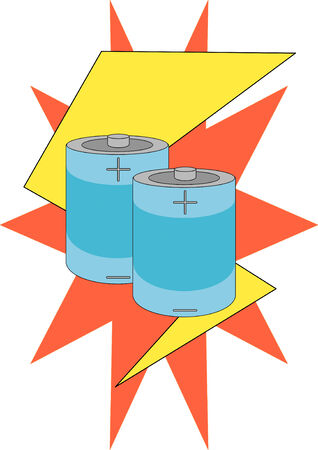 bolt: Vector Illustration of two battery cells against a lightning bolt and starburst.