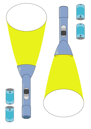 Vector Illustration of batteries and flashlights with lights beaming from them.