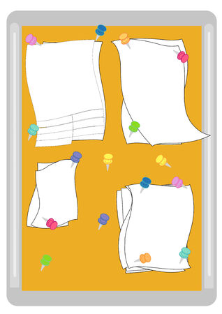 Vector Illustration of a cork memo board with blank notes and colorful push pins. Vector