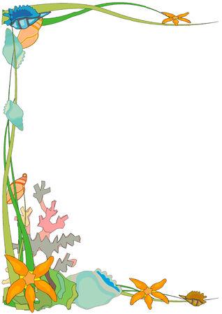 Hand getekend vector illustratie van een oceaan thema grens ontwerp Stock Illustratie