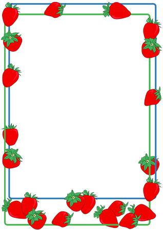 Hand drawn vector illustration of a strawberry border design. Illustration