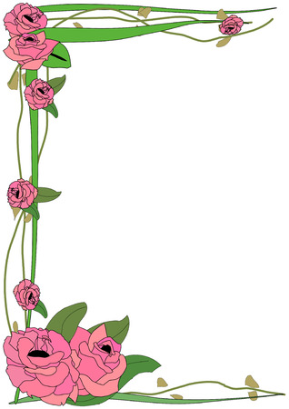 Vector Illustration of large pink roses framing a page on green leafy vines Ilustracja