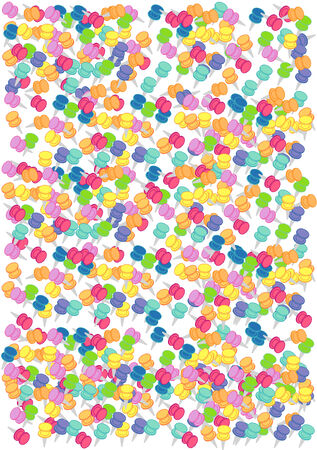 Vector Illustration of a variety of colorful push pins.