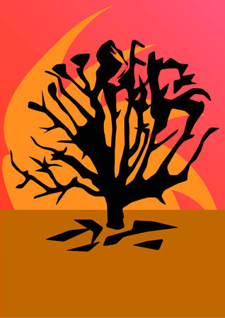 Hand drawn vector illustration of an abstract tree silhouette with earth tones