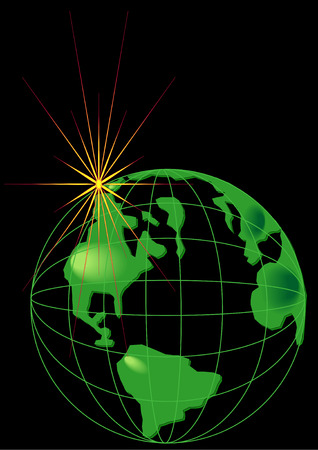 the americas: Vector Illustration of planet Earth in a grid frame with a view of the Americas over black. Illustration
