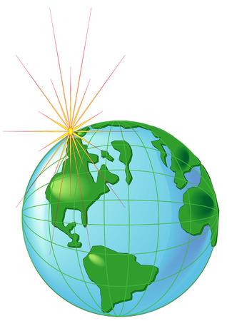 Vector Illustration of the Earth with a bright star. View of Americas Illustration