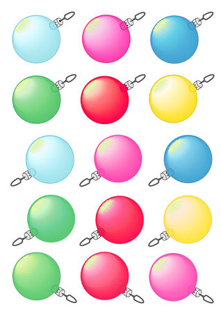Vector Illustration of decorative Christmas tree baubles in various colors.