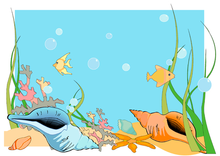 Vector Illustration of an ocean floor, with shells and fish and coral. Vectores