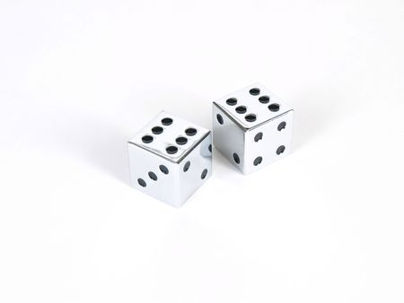 A pair of silver dice showing double sixes, or boxcars, on a white background.