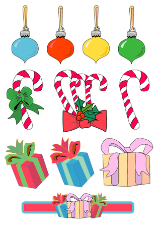 Vector Illustration of candy canes, bulbs and presents. Vector