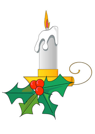 Vector Illustration of a lit white candle with a flame and a sprig of holly.
