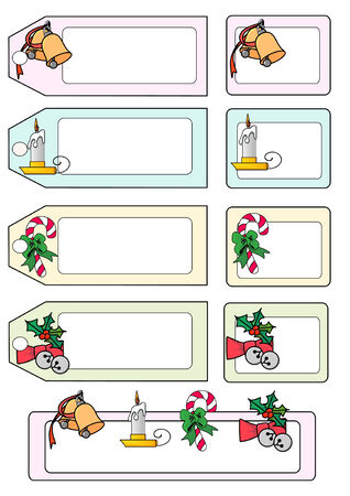 candle holder: Vector Illustration of various seasonal gift tags and labels. Illustration