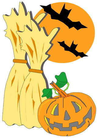 Vector illustration of a fall seasonal holiday with jack-o-lantern and bats. Vector