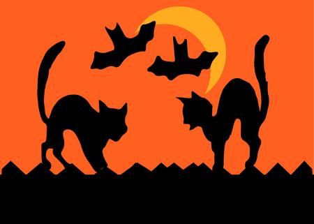 silueta de gato: Dos gatos en una valla frente a plaza de arqueo sus espaldas, los murciélagos de vuelo ha pasado de una media luna, en silueta.  Vectores